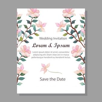 Karta zaproszenie ślubne z dekoracji gałęzi i kwiatów
