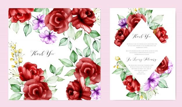 Karta zaproszenie ślubne z kolorowych kwiatów i liści