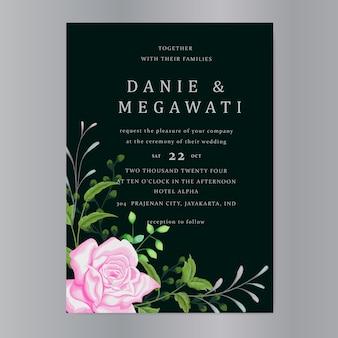 Karta zaproszenie ślubne z pięknym szablonem róż