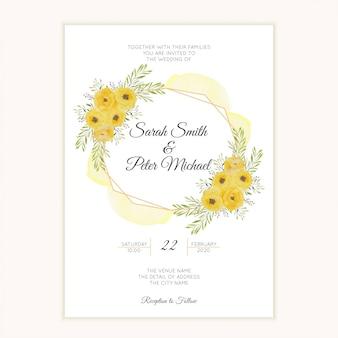 Karta zaproszenie ślubne z ramą akwarela żółta róża