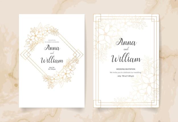 Karta zaproszenie ślubne z złote kwiaty, liście i gałęzie