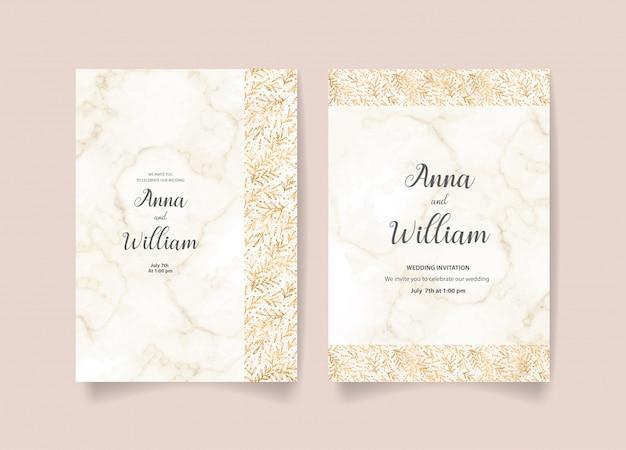 Karta zaproszenie ślubne z złote liście i gałęzie
