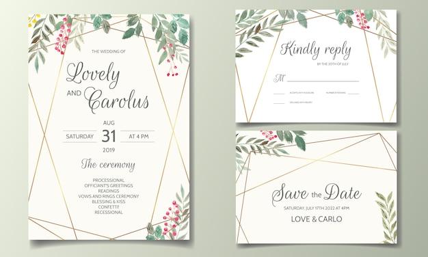 Karta zaproszenie ślubne zestaw szablonu z kwiatów i liści akwarela