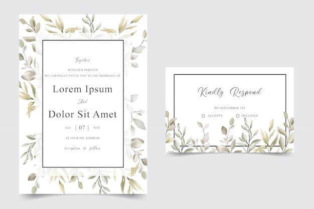 Karta zaproszenie ślubne zieleni z liści akwarela