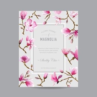 Karta zaproszenie vintage kwiatowy magnolia