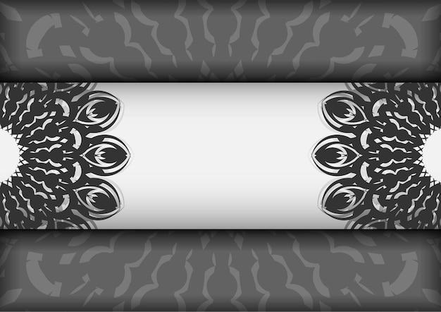 Karta zaproszenie wektor z miejscem na twój tekst i czarne wzory. projekt pocztówki gotowy do druku białe kolory z mandalami.
