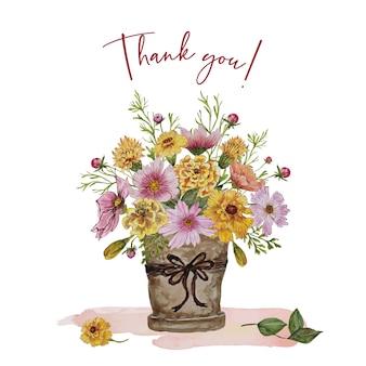 Karta zaproszenie z bukietem żółtych kwiatów
