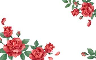 Karta zaproszenie z czerwonym schematem kolorów