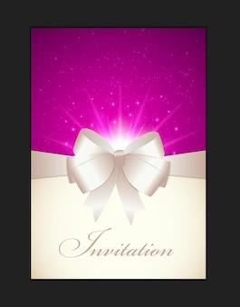 Karta zaproszenie z kokardą, wstążką i miejscem na kopię. ilustracja wektorowa