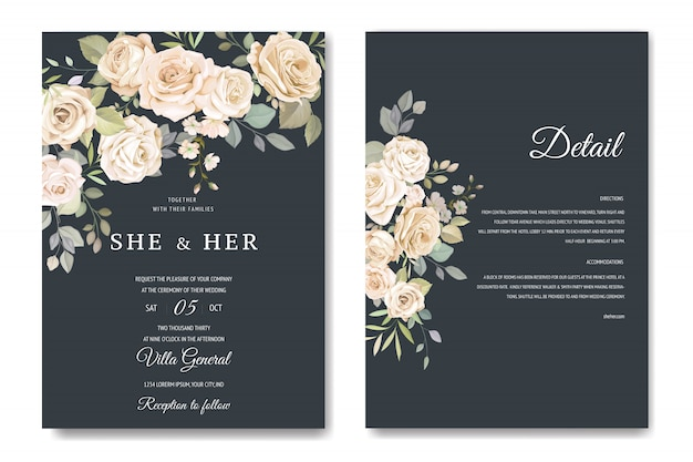 Karta zaproszenie z pięknym szablonem kwiatowym