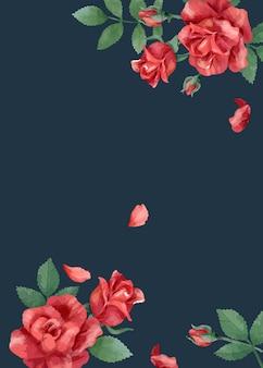 Karta zaproszenie z róż i liści