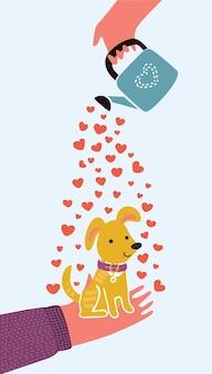 Karta ze zdjęciem dziewczyny przytulającej szczeniaka z napisem i love my dog vector illustration