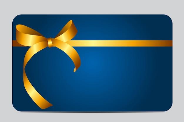 Karta ze złotą wstążką prezent. ilustracja wektorowa eps10