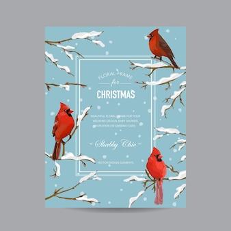 Karta zimowych ptaków - w stylu przypominającym akwarele