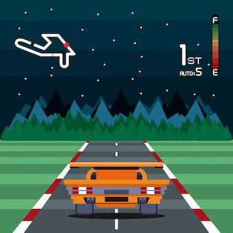 Karta zręcznościowa retro ekran gry wideo