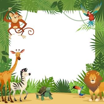 Karta zwierząt z dżungli. rama zwierząt tropikalnych liści pozdrowienie baby banner zoo granicy szablon party dzieci