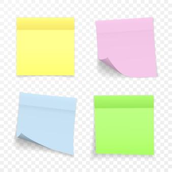 Karteczka samoprzylepna z efektem cienia. puste naklejki uwaga kolor notatki do wysyłania na przezroczystym tle. ilustracja.