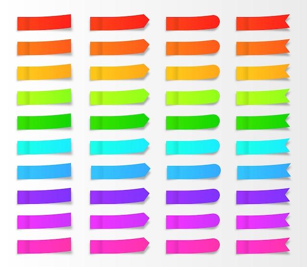 Karteczki samoprzylepne papierowe zakładki wektor zestaw taśmy samoprzylepne z szablonem cieni post note paper