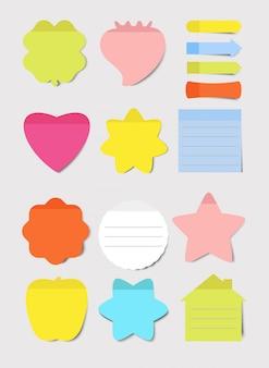 Karteczki samoprzylepne. zestaw ilustracji. notatnik pusty arkusz papieru do planowania i harmonogramowania. okrągłe, serduszkowe, kwadratowe kształty w kolorze pustych przypomnień. kolekcja notatek.