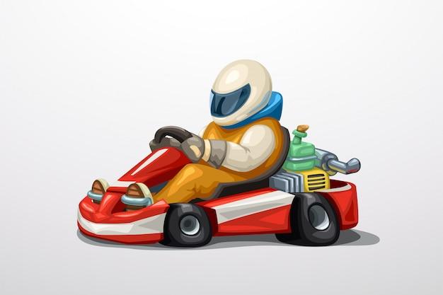 Karting z kierowcą na białym tle