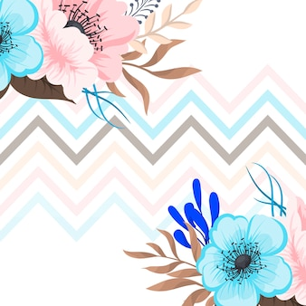 Kartkę z życzeniami z kwiatami, akwarela. Rama wektor