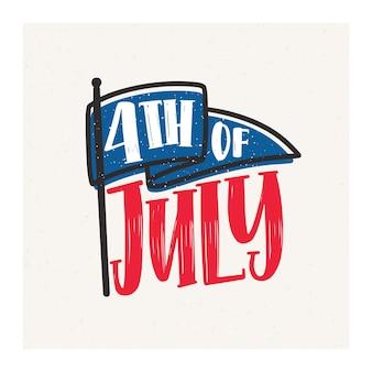 Kartka 4 lipca z kaligraficzną czcionką kursywą i ozdobiona flagą
