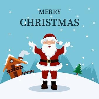 Kartka bożonarodzeniowa święty mikołaj w domu w biegunie północnym