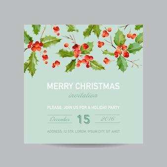 Kartka bożonarodzeniowa vintage holy berry