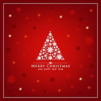 Kartka bożonarodzeniowa z czerwonym tłem i płatek śniegu