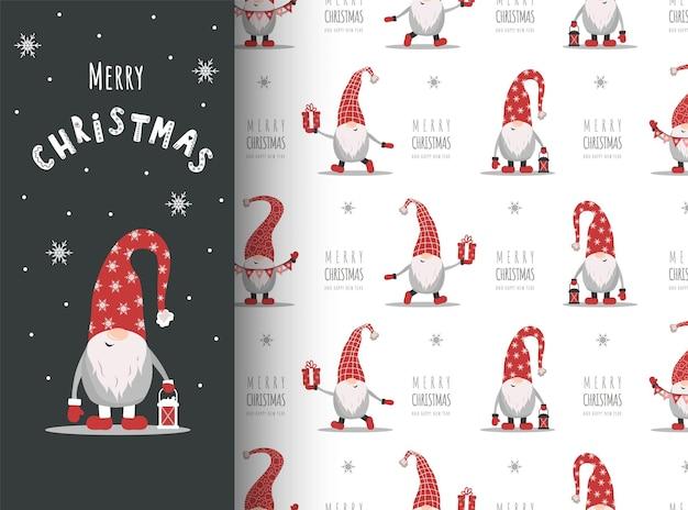 Kartka bożonarodzeniowa z gnomem w czerwonym kapeluszu. słodkie skandynawskie elfy na wzór.
