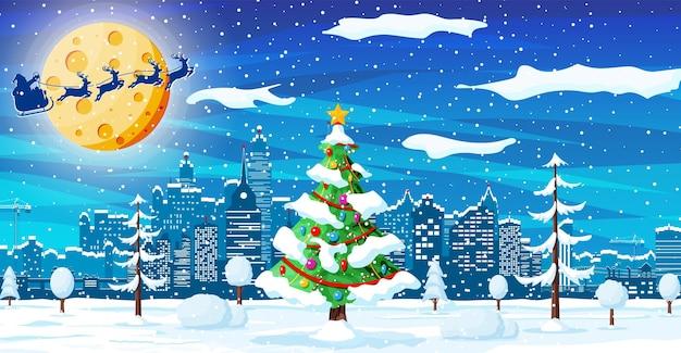 Kartka bożonarodzeniowa z krajobrazem miejskim i opadami śniegu. pejzaż miejski z wieżowcami ze śniegiem w nocy. zimowa wioska, przytulne miasto panorama miasta. nowy rok boże narodzenie xmas banner. ilustracja wektorowa płaskie