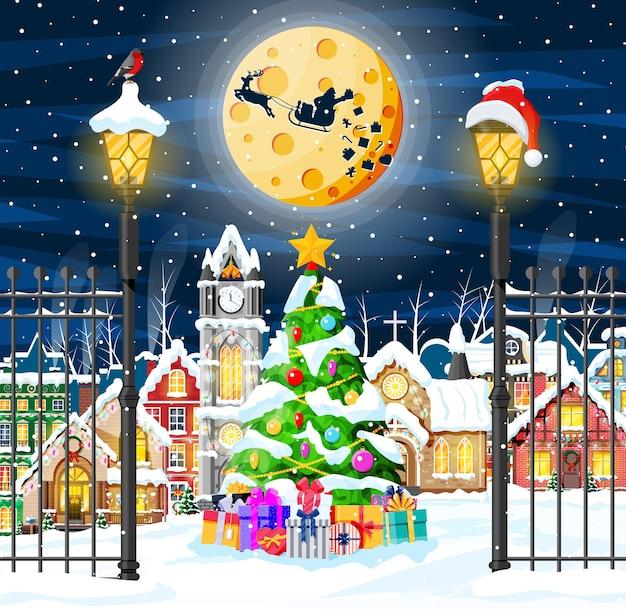 Kartka bożonarodzeniowa z krajobrazem miejskim i opadami śniegu. pejzaż z kolorowymi domami ze śniegiem w nocy. zimowa wioska, przytulne miasto panorama miasta. nowy rok boże narodzenie xmas banner. ilustracja wektorowa płaskie