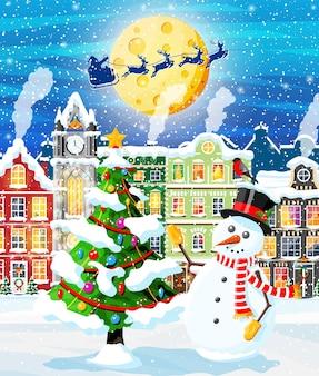 Kartka bożonarodzeniowa z krajobrazem miejskim i opadami śniegu.
