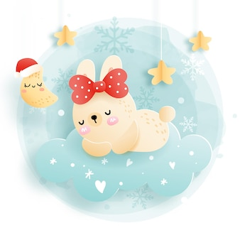 Kartka bożonarodzeniowa z królikiem śpiącym na chmurze, leśne święta