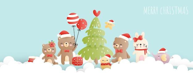Kartka bożonarodzeniowa z małym misiem, małym zwierzątkiem, bożonarodzeniowym lasem