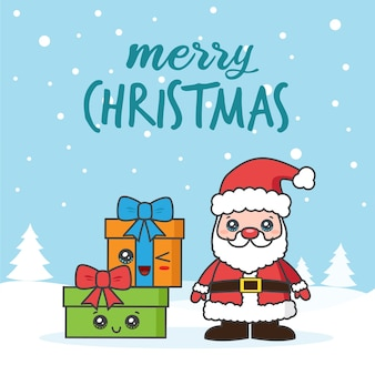 Kartka bożonarodzeniowa z mikołajem i prezentami na śniegu