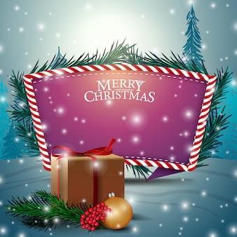 Kartka bożonarodzeniowa z purpurowym teksta szablonem i prezentami