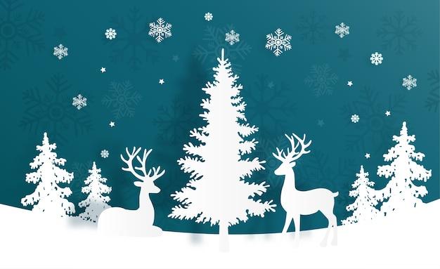 Kartka bożonarodzeniowa z reniferem i choinką