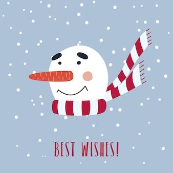 Kartka bożonarodzeniowa z ślicznym bałwanem w szaliku.