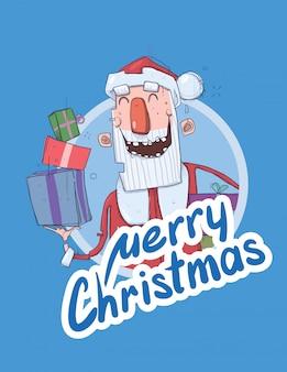 Kartka bożonarodzeniowa z śmieszne santa claus uśmiecha się. święty mikołaj przynosi prezenty w kolorowych pudełkach. napis na niebieskim tle. okrągły element projektu.