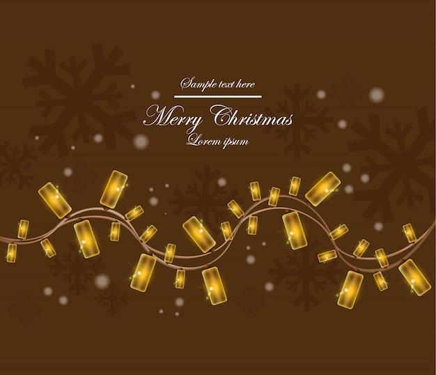Kartka bożonarodzeniowa z światłami wektorowymi. brązowy kolor tła