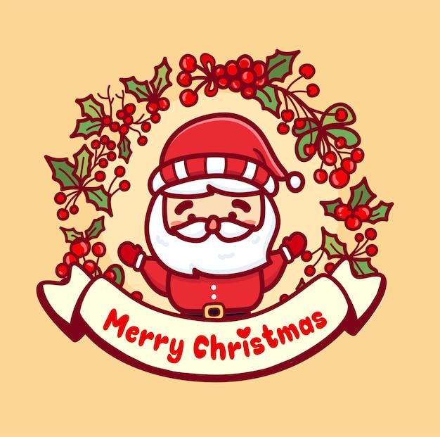 Kartka bożonarodzeniowa ze słodkim mikołajem i wiśniową ramką