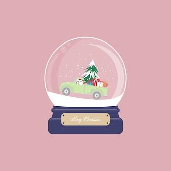 Kartka bożonarodzeniowa ze śnieżną kulą ziemską i mikołajem jeździ pickupa z choinką i pudełkiem na różowym tle. ilustracja. - ilustracja.