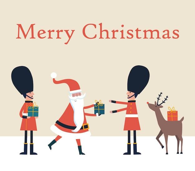 Kartka bożonarodzeniowa ze świętym mikołajem, jeleniem i angielskimi strażnikami.