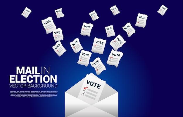 Kartka do głosowania włożona do koperty. koncepcja poczty w tle tematu głosowania wyborczego.