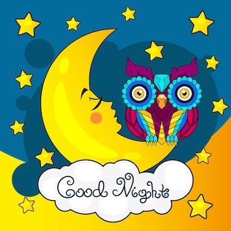 Kartka dobranoc z sową księżyca i gwiazd
