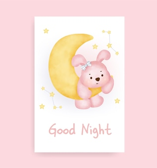 Kartka dobranoc z uroczym królikiem na księżycu