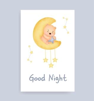 Kartka dobranoc z uroczym misiem na księżycu