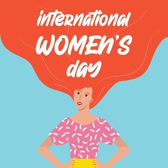 Kartka lub plakat z okazji dnia kobiet 8 marca, baner internetowy. piękna młoda i potężna kobieta, feminizm i dziewczęca moc. równość płci i ruch kobiet.