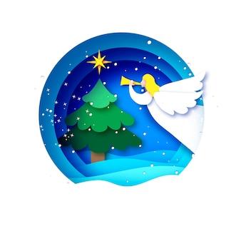 Kartka merry christmas greetings z białym aniołem i zieloną choinką. ferie. szczęśliwego nowego roku. gwiazda betlejemska - wschodnia kometa. okrągła ramka bombka w stylu wycinanym z papieru.